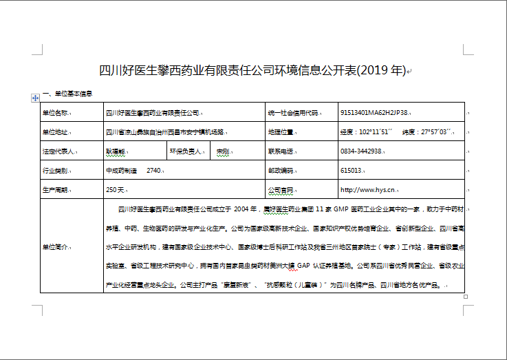 2019年四川好医生攀西药业有限责任公司企业环境公开信息表