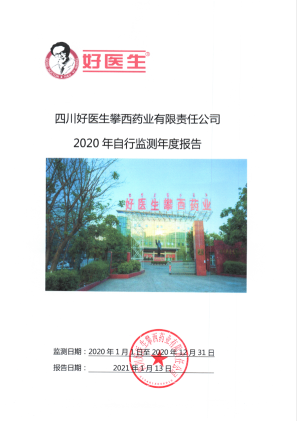 四川好医攀西药业有限责任公司2020年度企业自行监测报告